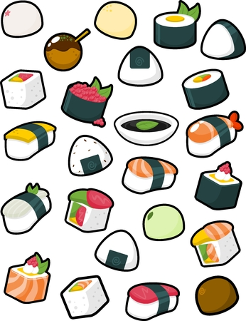 Collection of various Japanese food illustrations
