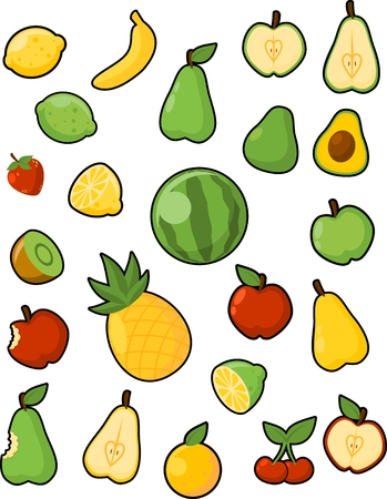 Collection of various fruit illustrations Illustration