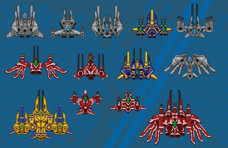 Collection of various space ship for creating top down space shooter games Ilustração