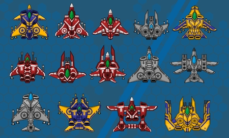Collection of various space ship for creating top down space shooter games Illustration
