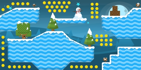 Platformer game tileset for creating Christmas and winter themed video games