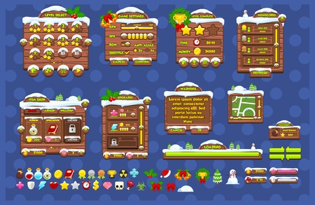 A set of complete user interface pack for creating Christmas and winter themed 2d video games