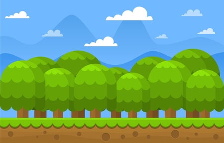 Forest parallax image scrolling for video game background