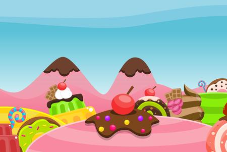 Candy land illustration for video game background Ilustração