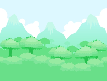 Forest and mountain image illustration for video game background