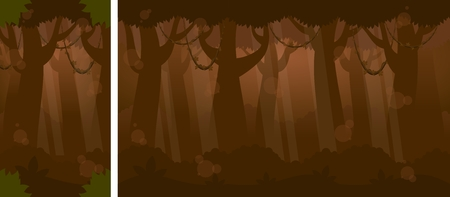 Vertical and horizontal forest image illustration for video game background Illustration
