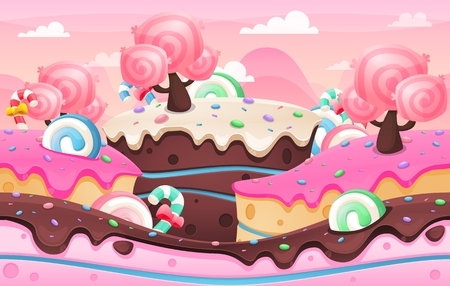 Candy land image illustration for casual video game