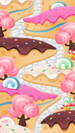 Vertical candy land background illustrator for level map of a video game Vectores