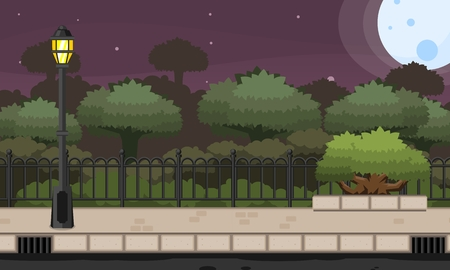 Video game background with park landscape in night
