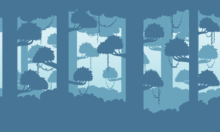 Dense rain forest image illustration for video game background
