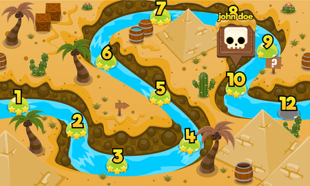pyramid egypt desert game level map background 向量圖像