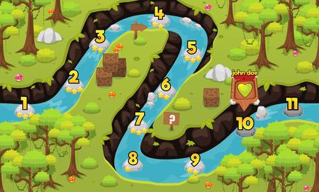 Dschungelfluss Spiel Level Kartenhintergrund Vektorgrafik