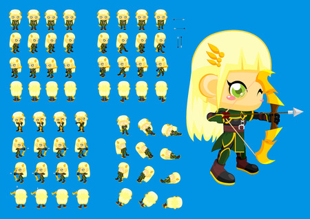 top down archer girl game character sprites Standard-Bild - 107335826