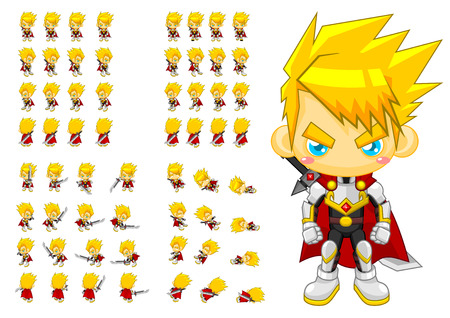 top down knight game character sprites Banque d'images - 107335827