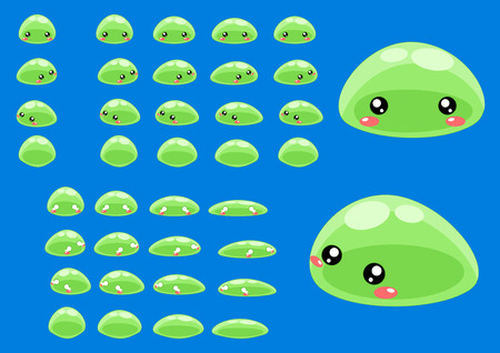 top down slime game character sprites Vectores