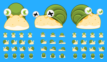 top down snail game character sprites