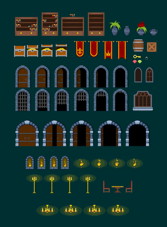 Medieval dungeon game objects Stock Illustratie
