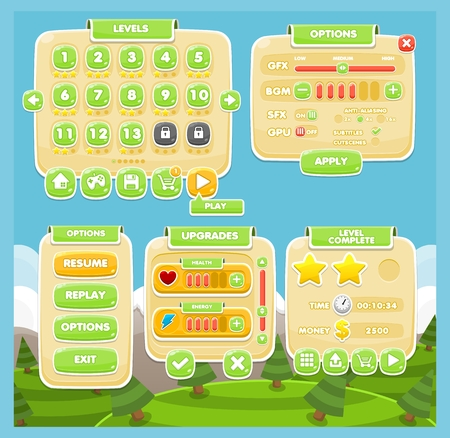 casual cute game gui interface pack Illustration
