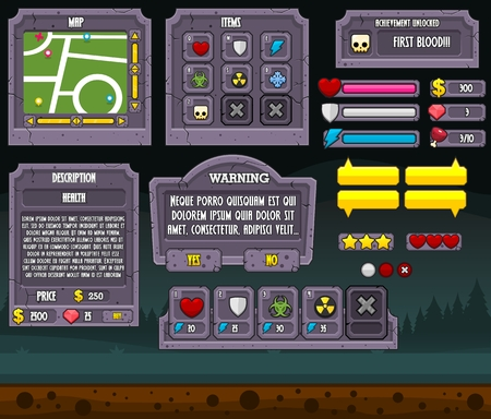zombie graveyard game gui interface pack Standard-Bild - 107336044