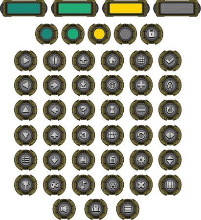 sci-fi game button pack 矢量图像