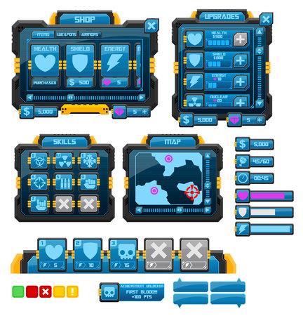 sci-fi game gui interface pack