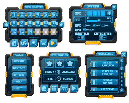 sci-fi game gui interface pack