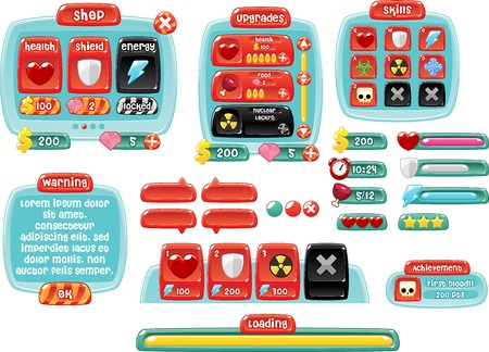 candy game gui interface pack Vettoriali