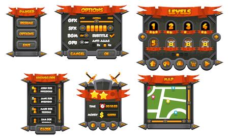 Dark medieval game gui interface pack 矢量图像