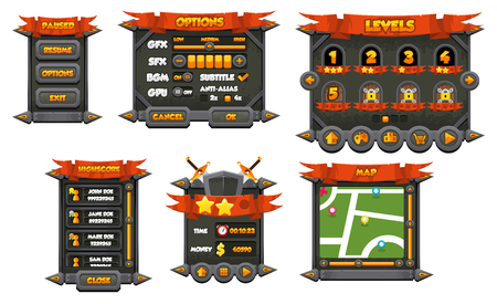 Dark medieval game gui interface pack Illustration