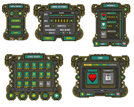 mechanized game gui interface pack
