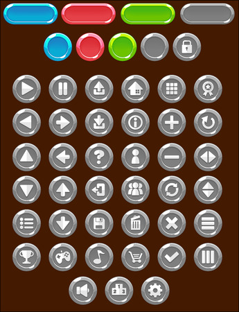 Gray circle game button pack 矢量图像