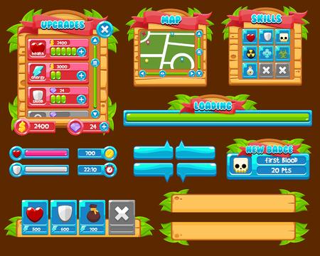 Jungle game gui interface pack 矢量图像