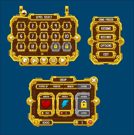 steampunk game gui interface pack