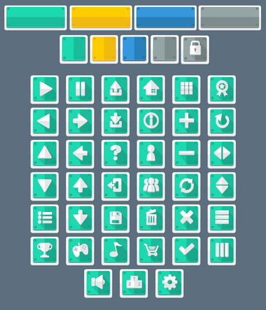 minimal flat game button pack