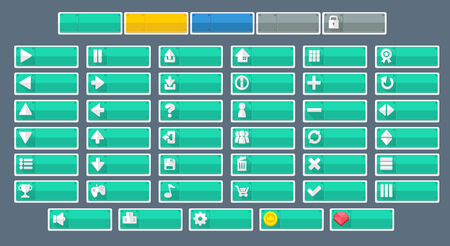 minimal flat game button pack