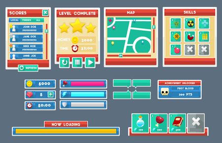 minimal flat game gui interface pack