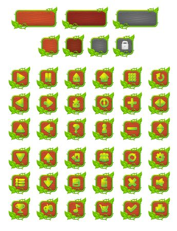 vines and leaves game button interface pack 矢量图像