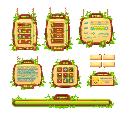 Vines and leaves game GUI Stock Illustratie