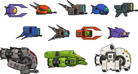 Space ship game sprites 矢量图像