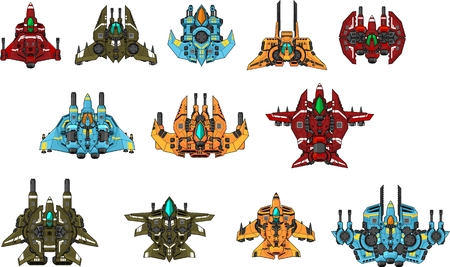 Space ship game sprites Vectores