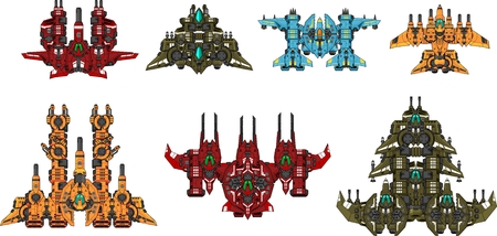 Space ship game sprites 向量圖像