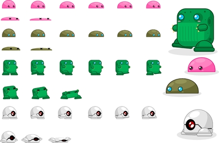 Animated small monster game character sprites