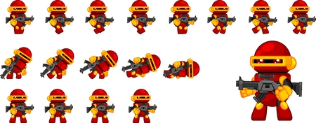 Animated robot game character sprites
