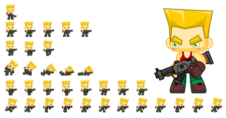 Animated soldier game character sprites Stock Illustratie
