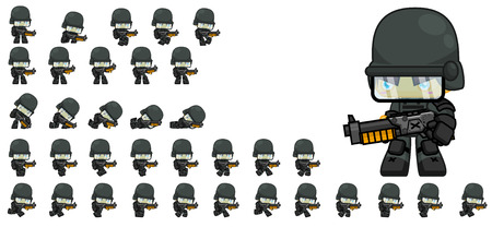 Animated soldier game character sprites 矢量图像