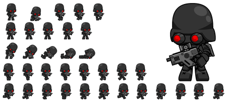 Animated soldier game character sprites Çizim