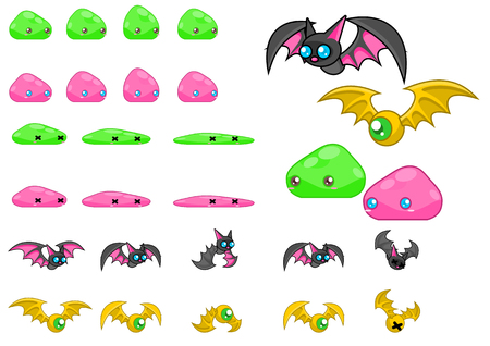 Animated bat and slime game character sprites Illustration