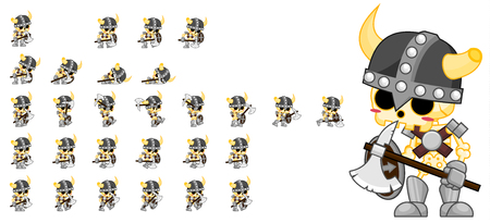 Animated skeleton soldier game character sprites