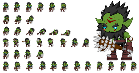 Animated orc game character sprites Stock Illustratie