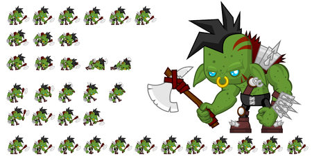 Animated orc game character sprites Ilustracja